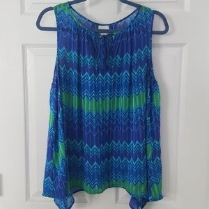Blue and green breezy top, sz L